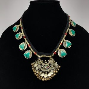 Vintage Short Necklace Beading Coins Gold Silver